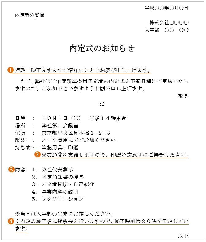 内定式の案内状の文例・テンプレート