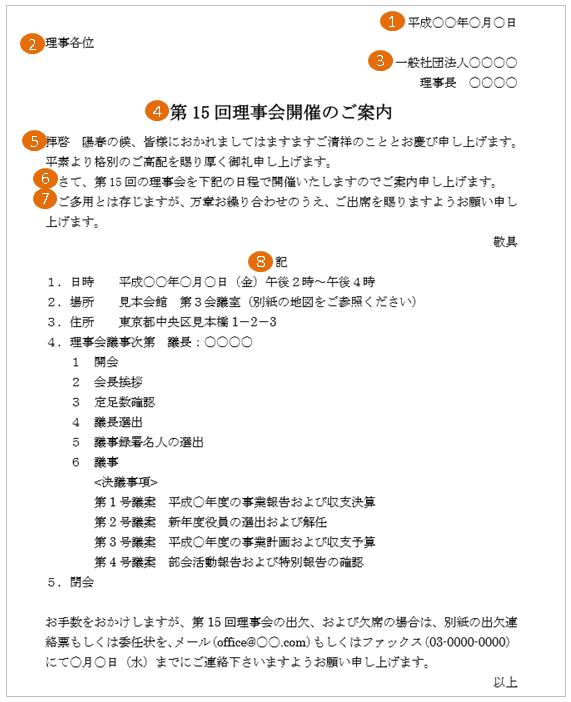 理事会の開催通知の案内状の書き方・書式
