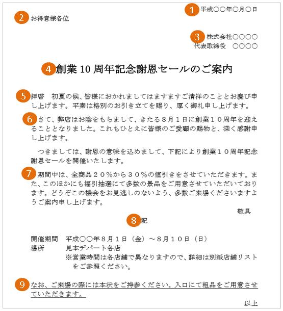 キャンペーン・セールの案内状(文例・テンプレート)3
