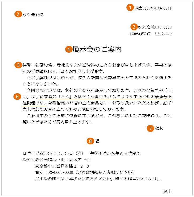 展示会の案内状(文例・テンプレート)1