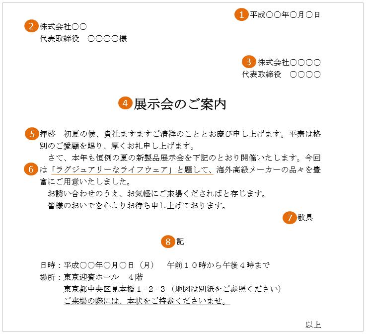 展示会の案内状(文例・テンプレート)2