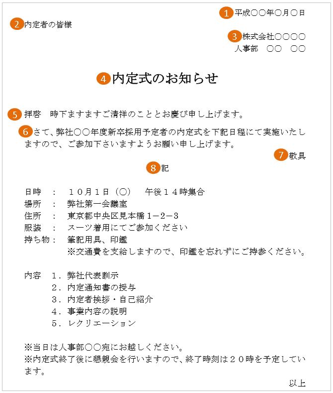 内定式の案内状の書き方