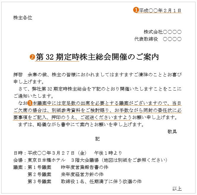株主総会の案内状(文例・テンプレート)3