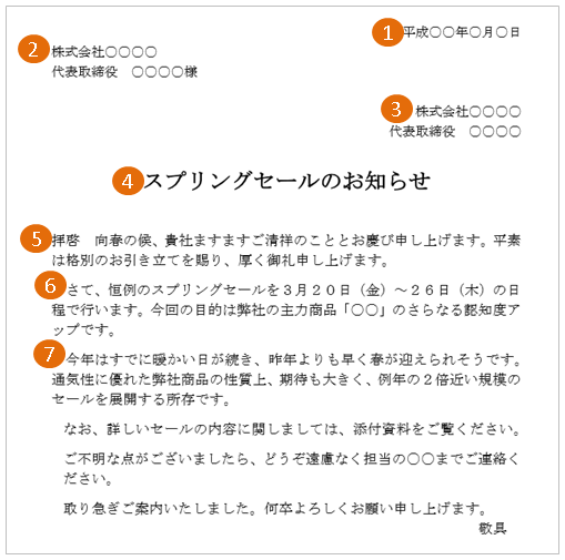 キャンペーン・セールの案内状(文例・テンプレート)4