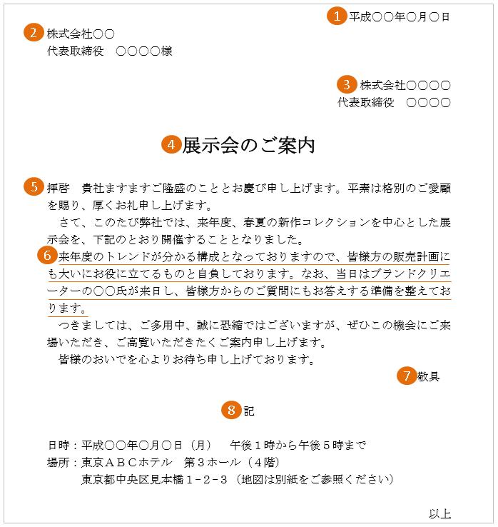 展示会の案内状(文例・テンプレート)3