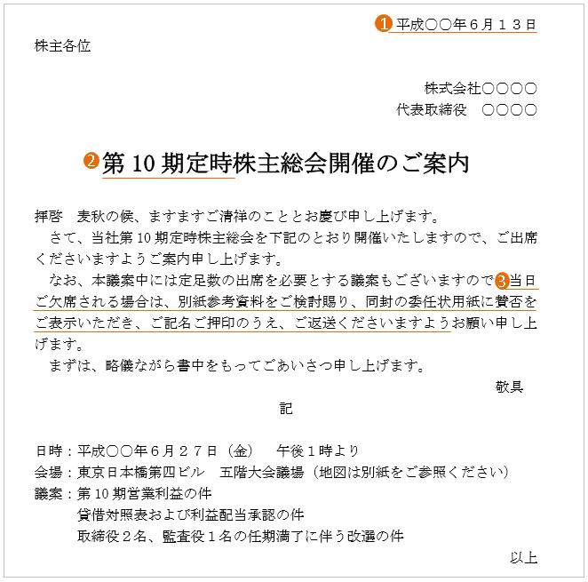 株主総会の案内状(文例・テンプレート)2