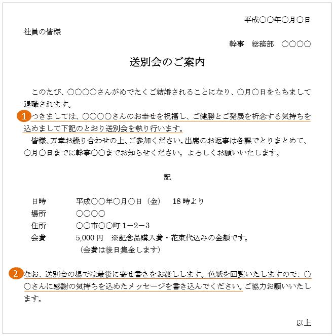 結婚退職(寿退社)の送別会の例文・テンプレート