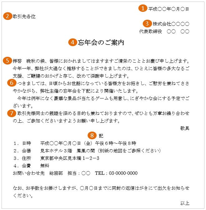 忘年会(社外・取引先)の案内状の書式・書き方